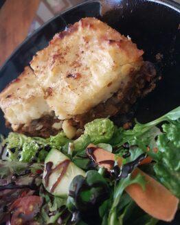 Vegan food Adelaide lentil shepherds pie