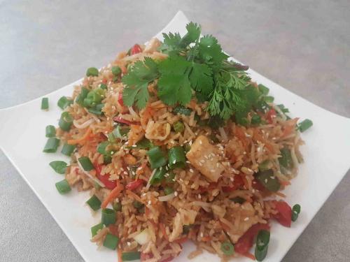 Asian Inspired Brown Fried Rice with Satay Tofu (GF)